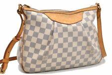 Authentic Louis Vuitton Damier Azur Siracusa PM Shoulder Bag N41113 LV A4520