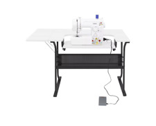 Sewing Machine Table Computer Desk White Small Craft Folding Storage Cabinet Sew