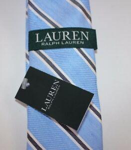 NWT $65 RALPH LAUREN Men's Light Blue Black Striped Silk/Linen Classic Neck Tie