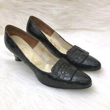 Vintage 50s 60s Henri Flatow Alligator Pumps Heels Size 9 Dark Brown 1950s 1960s