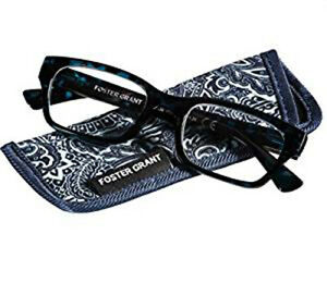 New! Foster Grant Mira Blue 2.50 Reading Glasses W/Soft Case. FREE Ship!