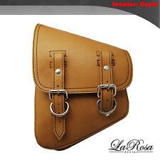 La Rosa Tan Leather Harley Softail Rigid Left Swing Arm Saddle Bag