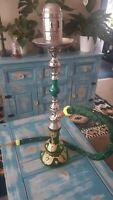 Vintage large beautiful green & gold hand-painted glass shisha bong hookah 85cm