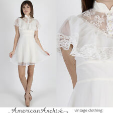 Vintage 70s Lace Boho Dress White Chiffon Wedding Hippie Lace Cocktail Mini S