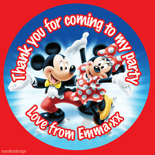 35 x Personalised MICKEY & MINNIE MOUSE Birthday Stickers Thank you Seals-N294
