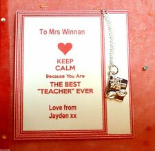 Teacher Thank You Gift +Bag Keep Calm you are the Best Teacher Ever Necklace