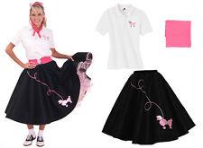 Hip Hop 50s Shop Womens 3pc Poodle Skirt Halloween or Dance Costume Set