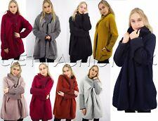 Fashion Ladies Womens Wool Mix Cocoon Lagenlook Coatigan Jacket Coat Cape Poncho