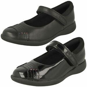 Girls Clarks Rainbow Detail Hook & Loop Coated Leather School Shoes Etch Beam