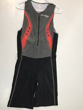 Saucony Men's Elite TRI Triathlon Suit SZ L Cycling Zip Tank Bib Shorts Run Bike