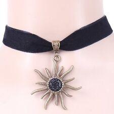 Choker Sonne Schwarz Kropfband Edelweiss Samtband Gothic Collier Samt Halsband
