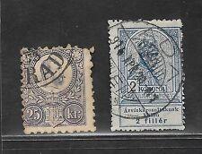 1871 & 1913 HUNGARY STAMPS 25KR MAUVE USED / 2 KOR BLUE USED