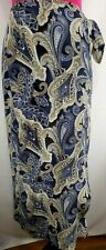 Ann Taylor Size S  Long Paisley Silk Tie Warp Skirt  Blue Gray Tan