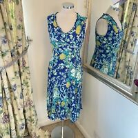 East Size 12 blue summer floral midi dress scrunch stretchy dress holiday VGC