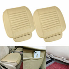 2× Beige Car Front PU Leather Seat Cover Cushion Bamboo Charcoal Pad Breathable