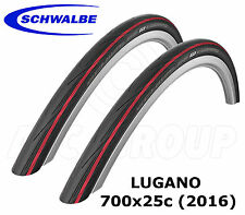 Schwalbe Lugano 700x25C (25-622) Racing/Road Bike (2 Tyres) - Red (2016 Version)