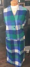 Vintage 1960's Blue & Green Wool Plaid Skirt & Vest by Joyce Of Chicago Sz Med