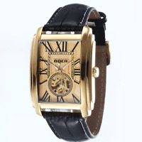 Goer Unique Sport Square Dial Automatic Mechanical Leather band Men Wrist Watch