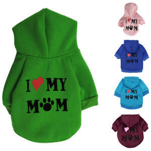 Pet Puppy Clothes Hoodie Sweater Dog Coat Warm Love My Mom Printed Sweatshirts