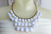 Runway Crystal & White Lucite Bead Waterfall Bib Necklace Gold Plate Box Chain