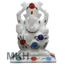 "5"" Lord Ganesh Marble Statue Figurine Inlay Stone Ganesha Sculpture Hand Carved"
