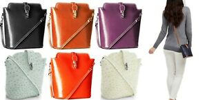 Handbag Bliss Italian Leather Small Cross Body / Shoulder Bag (Smooth/Ostrich)