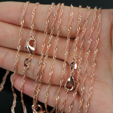 """10pcs 18K Rose Gold Plated 2mm Water Wave Chain Necklace 16""""-24"""" Wholesale lots"""