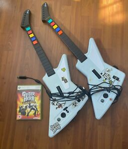 Guitar Hero xbox 360 Game + Set of 2 Xplorer Guitar Controllers Wired
