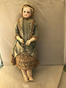 """ANTIQUE 14"""" JUMEAU EARLY FASHION DOLL ORIGINAL CLOTHING BISQUE HEAD, SHOULDERS"""
