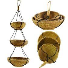 Rattan Hängekorb, Bambus Hängeregal, Boho Unikat, Hänge-Etagere Regal Dekorative