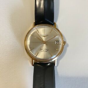 Rare LONGINES Flagship 18K Rose Gold Automatic Date Men's Watch Crosshair Dial
