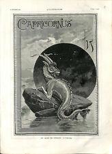 Capricornus signe du zodiaque le capricorne  GRAVURE 1887