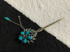 New Vintage Crystal Rhinestone Butterfly Hairpin Hair Clip Stick Jewelry Blue