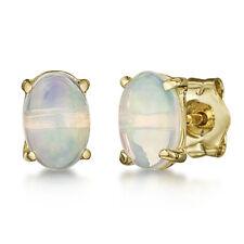 9ct Opale Ovale Oro Giallo Orecchini a lobo 6x4mm