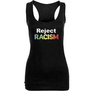 Women Ladies Reject Racism Printed Racer Back Bodycon Muscle Vest Top Tee 8118