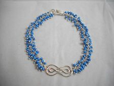 Genuine Turquoise & Sterling Double Infinity Bracelet 7.75 NWOT