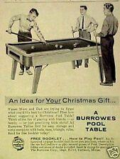 1957 Burrowes Billiard/Pool Tables Christmas Sports Memorabilia Promo Print AD