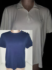 Lot of 2 Womens Ladies Ralph Lauren Polo Short Sleeve Shirt Sz Medium White Blue