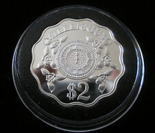 1999-2000 CAYMAN ISLANDS MILLENNIUM SILVER PROOF $2 TWO DOLLAR COIN BOX/-COA