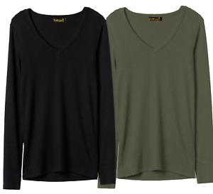 Women Ladies Plain Long Sleeve V Neck Basic T-Shirt Top Vest Cotton Tshirts