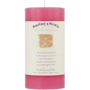 """3""""x6"""" Crystal Journey's Manifest a Miracle Reiki Charged Pillar Candle!"""