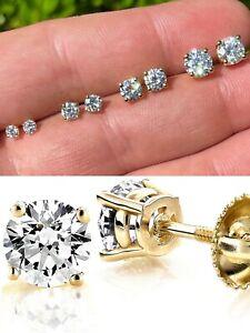 Real Moissanite Stud Earrings Pass Diamond Tester Size 0.2-2ct 14k Gold Vermeil