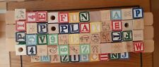 114 Vintage Wooden Alphabet Number & Pictures Blocks - Small & Large & Colorful