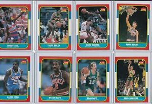 HT: 1986 Fleer Basketball Card Lot - Sixty (60) Different w/Stars & Rookies ExMt
