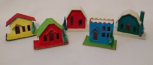 Vintage lot (5) Putz Christmas Glitter Houses with Trees