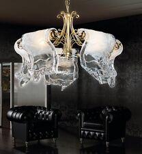 Lampadario classico di design in foglia oro e vetri coll. BELL poeme 1150/L5L