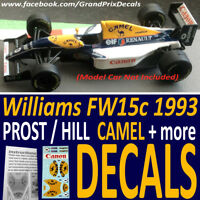 F1 Car Collection Williams FW15c PROST / HILL water slide decals CAMEL ++ 1:43