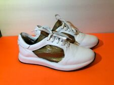 """OFFICINE CREATIVE White/Bronze """"RACE"""" Leather Sneakers Shoes sz.39.5/9"""