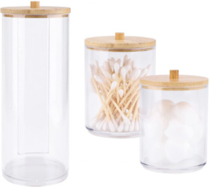 2 Pack Acrylic Qtip Holder with Bamboo Lids Bathroom Canisters Jars Clear B