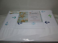 New Coastal ANCHOR Embroidered Collection 4 pcs Twin Sheet Set Navy Blue Green